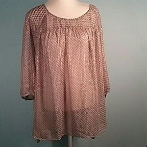 Lauren Conrad plus size 3x sheer blouse gold Flex